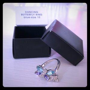 NIB Avon Silver Dancing Butterfly Ring 10